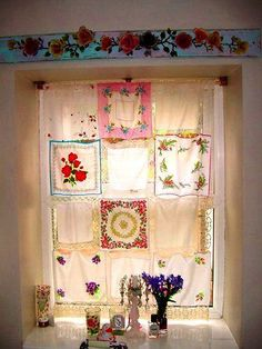 Curtains from vintage handkerchiefs