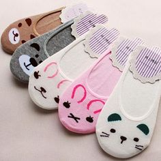 1e181106fa09 Women Invisible Cotton Socks No Show Nonslip Loafer Liner Low Cut Cartoon  Animal-buy at