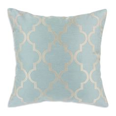 Spa Blue Decade Embroidered Throw pillow