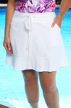 This exclusive Always For Me Cover Terry Ruffle Skirt Style #4001 is a swimsuit cover up that no plus size women should be without!  This plus size Terry skirt is feminine and flirty with it's 5 in