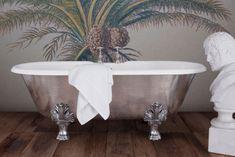 Hurlingham the Bath Company - Palm Leaf Cast Iron Bath Bathroom Inspiration, Interior Inspiration, Bathroom Ideas, Cast Iron Bath, Copper Bath, Roll Top Bath, Edwardian House, Towel Rail, Clawfoot Bathtub