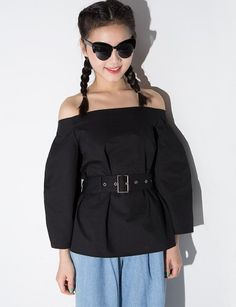 Chic black off the shoulder top with balloon sleeves and optional tie belt. *100% cotton*Length 21.5