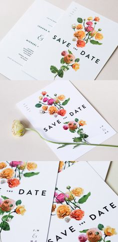 Gorgeous floral save-the-dates. Bright, fun, with a modern twist.