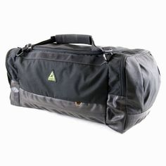 Made in the U.S.A. Duffster 68L Duffel - Materials: Bike inner tube, recycled PETE fabric, nylon hardware  Dimensions: 26 x 12 x 12 in.  Capacity: 60 L/3744 cu in.  Weight: 2 lb 10 oz  Features:  ■Convertible, padded shoulder strap/backpack system  ■One large compartment with easy-to-open U-zipper  ■Two expandable side pockets  ■Weather-resistant bike tube base armor
