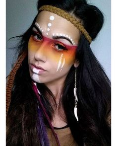 """""""Love this makeup! Tag your friends who would rock this for Halloween! #halloween #halloweencostume #halloweenmakeup #costumeideas #indiancostume…"""""""