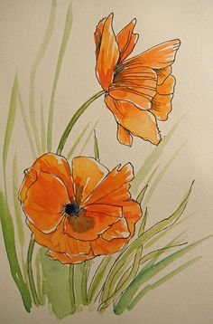 Watercolor Poppies by Andrea Thompson - Watercolor Poppies Painting - Watercolor Poppies Fine Art Prints and Posters for Sale Watercolor Poppies, Abstract Watercolor, Watercolor And Ink, Watercolor Paintings, Poppies Painting, Orange Painting, Fleur Orange, Orange Wall Art, Watercolor Projects