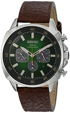 Seiko Men's Quartz Stainless Steel and Leather Automatic Watch, Color:Brown…