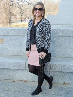 Wearing blush to the office- Office Fashion   Blush & Leopard- Boston Chic Party
