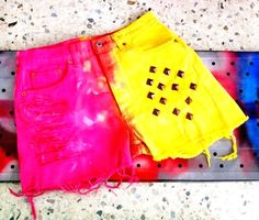 Ounas Closet Vintage 90s Bright Yellow and Hot Pink Sorbet Tie Dye Distressed LEVI Jean Shorts - Cut Off Denim - size s medium - studded