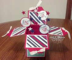 Patriotic card in a box - using Memorable Moments stamp set and the angled tag punch from Stampin Up