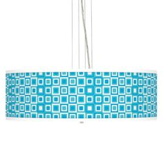 Blue Boxes Giclee 8-Inch-H Pendant Chandelier -