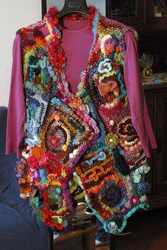 crochet freeform gilet by fattoconilcuore, via Flickr   love it