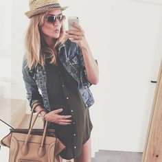 Pregnancy outfit with denim jacket