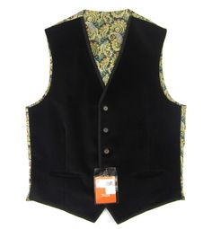 New TALLIA Solid Black Velvet Paisley 5Btn Formal Tuxedo Vest 40 40R M NWT $95!