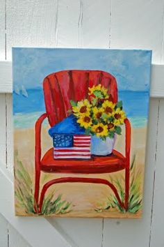 red metal chair at the beach (by Erin at the Painted Garden: http://thepaintedgarden.blogspot.com)
