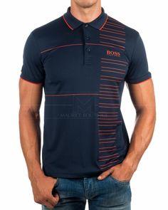 Polos Hugo Boss Paddy Pro - Azul marino & Naranja Polo Design, New T Shirt Design, Shirt Designs, Polo Shirt Outfits, Mens Polo T Shirts, Moda Men, Camisa Floral, Hugo Boss Shirts, Cool Shirts