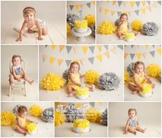 Yellow and gray daisy cake smash session. First birthday cake smash. Pennant banner. Tissue poms.   Two Sisters Photography, Bonney Lake WA