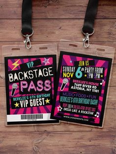 birthday invitation rock star VIP PASS backstage by LyonsPrints Karaoke Party, 90s Party, Glow Party, Disco Party, Decade Party, Bowling Party, Music Party, Vip Pass, Birthday Favors