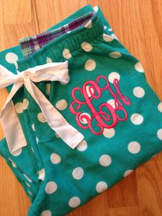 Monogrammed Pajama Pants - Teal and white polka dots. $19.00, via Etsy.