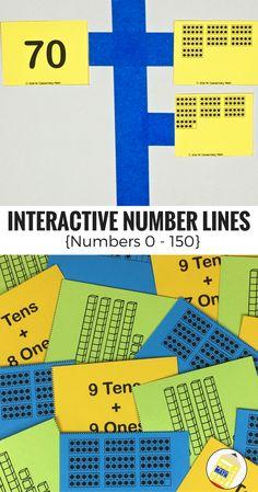 Interactive Number Line Number Sense Activities within 150 Subtraction Activities, Kindergarten Math Activities, Math Resources, Teaching Math, Teaching Ideas, Maths, Number 0, Number Lines, First Grade Teachers