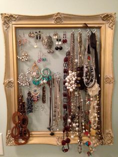 Recycled Frame Jewelry Organizer by Retweets on Etsy, $15.00