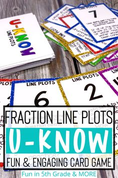 This review game is similar to UNO and is a fun and engaging way to practice fraction line plots. Students will love this math review game so much they will be begging to play! 5th grade students will practice find the total data card as well how many people for a certain data point. Free Math Games, Math Card Games, Literacy Games, Math Websites, Teaching Fractions, Math Lesson Plans, Love Math, Review Games, Math Facts