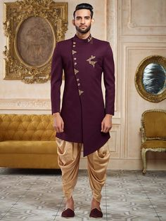 Shop Purple color terry rayon indo western online from India. Sherwani For Men Wedding, Wedding Dresses Men Indian, Sherwani Groom, Groom Wedding Dress, Mens Sherwani, Groom Dress, Wedding Suits, Punjabi Wedding, Wedding Wear