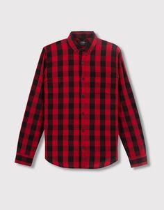 Pull&Bear - hombre - camisas - camisa cuadro damero manga larga - rojo - 05470543-V2016
