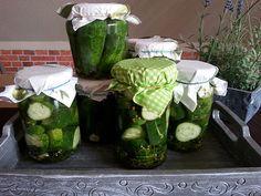 Salt cucumbers in the glass - Eingelegte gurken - Salat Special Recipes, Fresh Rolls, Cucumber, Zucchini, Watermelon, Cabbage, Fruit, Vegetables, Glass
