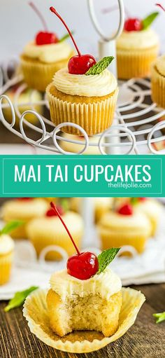 These Mai Tai Cupcakes are an easy and delicious recipe inspired by the cocktail. There's a small amount of rum (not a ton, there are kid-friendly) in the cupcakes which makes them super moist and they're topped with a fresh orange butter cream that's bur Rum Cupcakes, Alcoholic Cupcakes, Cocktail Cupcakes, Cupcake Cakes, Liquor Cupcakes, Drunken Cupcakes, Small Cupcakes, Cocktail Desserts, Party Cupcakes
