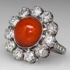Vintage Red Coral Cocktail Ring