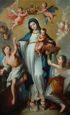 Madre Santisima de la LuzThe story of the image of the Mary as the Mother of Light begins in 18th century Palermo, when a nun had a vision of Mary saving a man from the mouth of a demon.The Jesuits made a painting of the nun's vision which later founds its way from Sicily to the city of Leon in Mexico. There the Jesuits placed it in their church for public veneration. The image was soon considered miraculous and copies were sent all over the Americas.The image shows Mary pulling a young ma