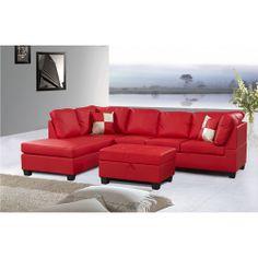 Jingo Faux Leather Orange Red 3 Piece Sectional Sofa Set | Overstock.com
