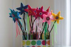 Felt Magic wands - I made for Maya's Rainbow Sparkle Birthday Party