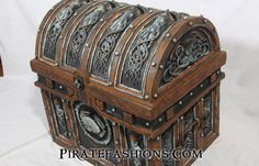 Kraken be the old Icelandic legend of the colossal octopus seamonster. Specially hand painted by Tiger Lee an' Gundeck Carrie with real rust and bronze patina. This amazing treasure chest boast a wood