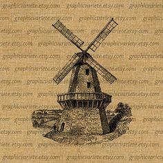 Wind Mill Antique Farm Farming Rural Country by GraphicVariete, $1.00