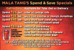 Experience Mala Tang at your own convenience! We have and options in the and area Cold Noodles, Mushroom Salad, Beef Jerky, Hot Pot, Spring Rolls, Take Out, Stuffed Mushrooms, Delivery, Food