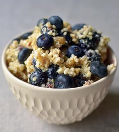Breakfast grain salad with blueberries, hazelnuts, and lemon.