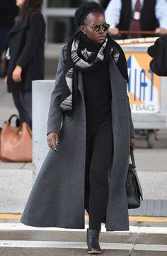 Lupita Nyong'o arriving from JFK Airport from London December 2015 Lupita Nyongo, Velvet Fashion, Max Mara, Celebrity Style, Winter Fashion, Fashion Outfits, Ladies Fashion, Street Style, Style Inspiration