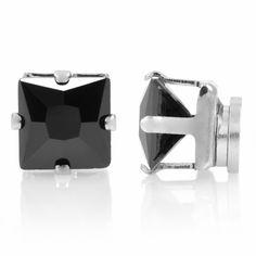 Anthony's Black CZ Square Cut Non Pierced Magnetic Earrings - Men's