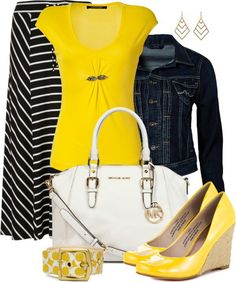 Black and white skirt, yellow shirt, black necklace, jean jacket