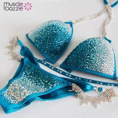 Muscle Dazzle - Turquoise Ombre Crystal Bikini (CB125), $295…