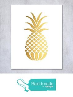 Pineapple Gold Foil Decor Art Print Tropical Chic Metallic Poster Modern Wall…