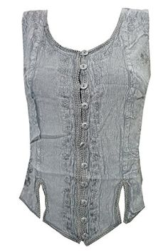 """Women's Peasant Blouse Grey Stonewashed Rayon Gypsy Tank Top (Chest:38"""") Mogul Interior http://www.amazon.com/dp/B017D94E7K/ref=cm_sw_r_pi_dp_da7rwb00QMN3E"""