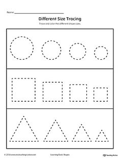 Tracing Different Size Shapes: Circle, Square, Triangle Worksheet.Practice tracing different size shapes: circle, square, and triangle. Shape Tracing Worksheets, Tracing Shapes, Kindergarten Coloring Pages, Kindergarten Worksheets, Printable Preschool Worksheets, Preschool Writing, Preschool Activities, Triangle Worksheet, Circle Square Triangle