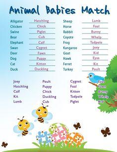 Printable Shower Games: Baby Animal Matching - Easter Theme
