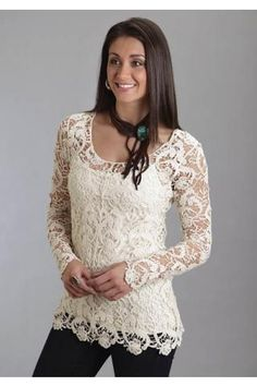 Don't like the neck thing but love the shirt Stetson® Women's Cream Crochet Lace Long Sleeve Western Tunic Country Outfits, Western Outfits, Western Wear For Women, Western Tops, Lace Tunic, Crochet Lace, Crochet Tops, Blouses For Women, Women Tunic