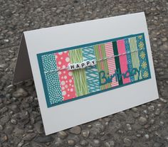 "Washi tape card - love the ""happy"" beads!!"