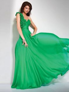 Style A-Line Shoulder Hand-Made Flower Sleeveless Floor-Length Chiffon Prom Dress ... many colors.