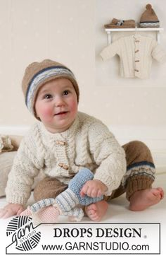 BabyDROPS 13-14 - DROPS Jacket, trousers, hat and soft toy in Alpaca - Free pattern by DROPS Design